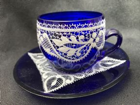 Beautiful Bohemian  blue glass & lace espresso cup & saucer